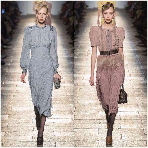 Những chiếc váy với phần cầu vai lớn chiết eo ấn tượng