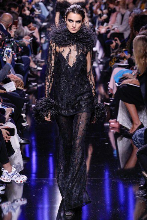 Chiếc váy phối lông đà điểu ấn tượng của Elie Saab