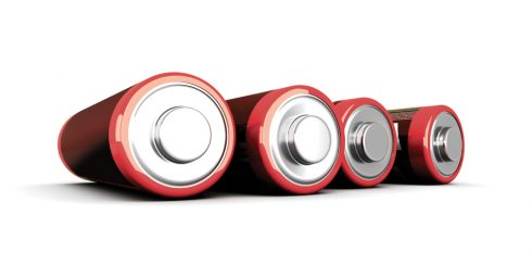 3D rendered Illustration. Isolated on white. AA Batteries.