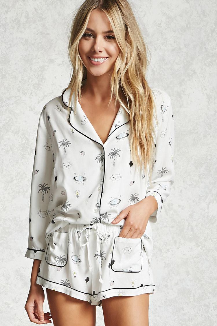 đồ bộ pyjama với quần ngắn của F21