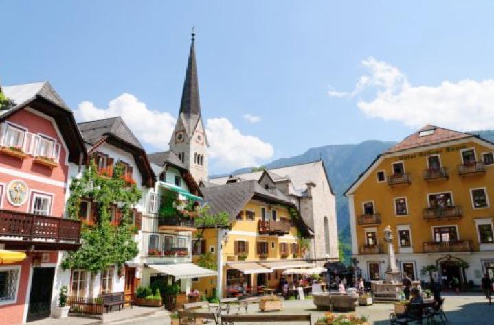 Khu chợ trung tâm ở Hallstatt