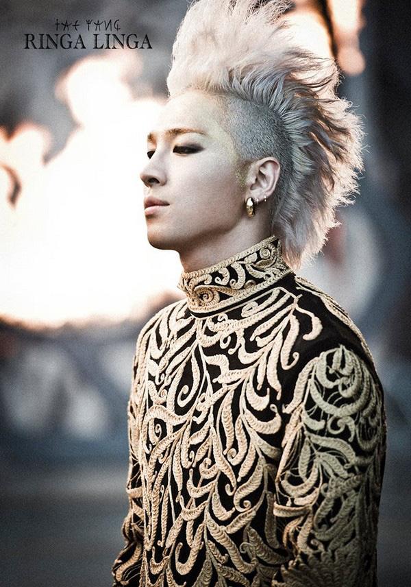 taeyang tóc dựng đứng màu bạch kim