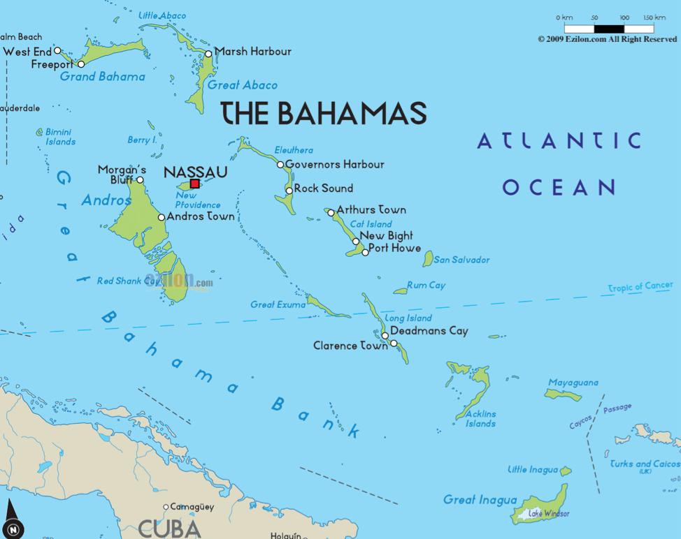 Bản đồ con tàu sẽ đi qua từ New Jersey đến Bahamas