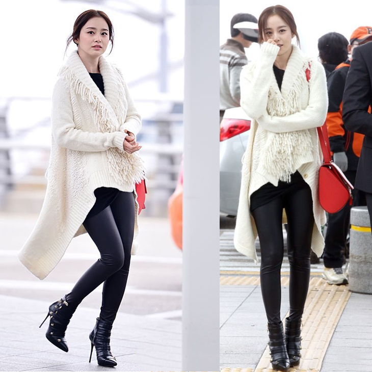 Áo khoác vaf túi xách là những phụ kiện Kim Tae Hee không thể thiếu