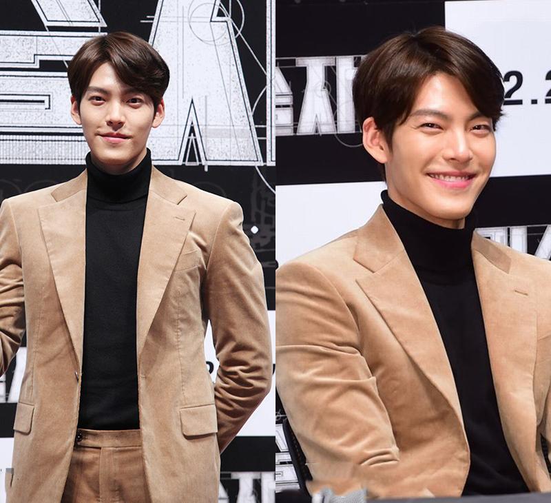 Kim woo bin kết hợp áo đen và vest màu nâu.