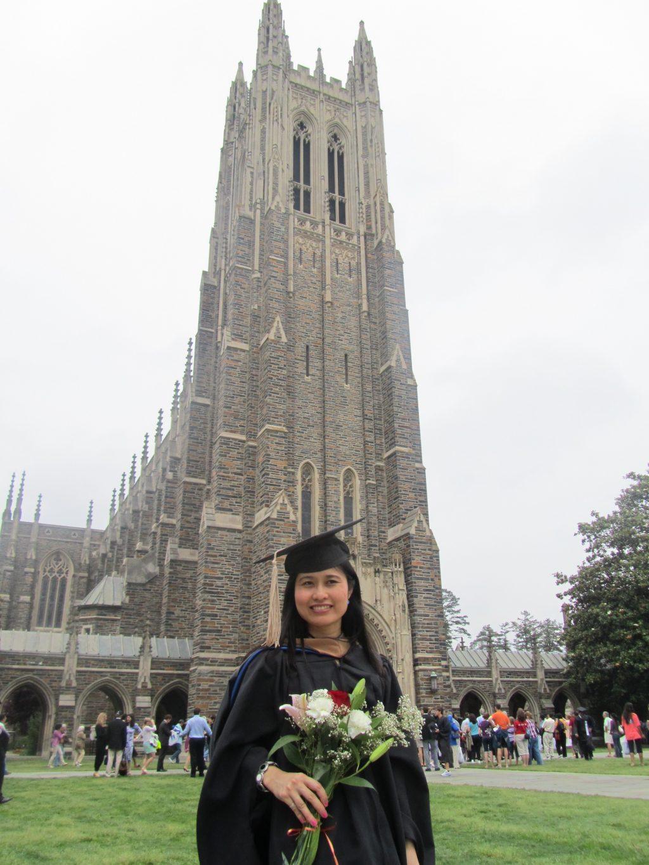 Chị Trần Bích Hường trong lễ tốt nghiệp tại Mỹ