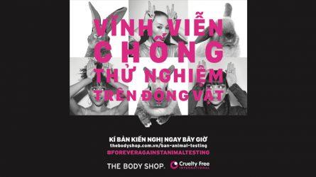 Cùng The Body Shop chống việc thử nghiệm mỹ phẩm trên động vật