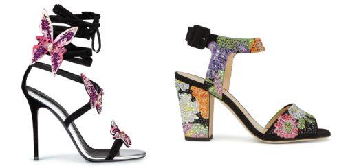 Những cánh bướm lấp lánh và chi tiết bông hoa đầy màu sắc là điểm nhấn đậm nét nữ tính nhưng vô cùng hiện đại cho đôi giày.