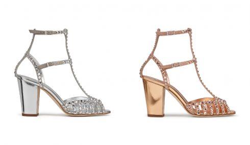 Gây ấn tượng bởi đế giày được làm từ kim loại, dây đeo phủ lớp bóng mờ và được phủ đầy những viên pha lê lấp lánh. Đây là sự kết hợp hoàn hảo giữa nét nữ tính và sự đổi mới.