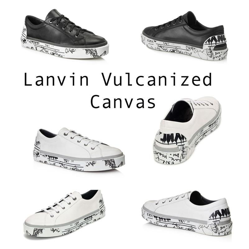 """Lanvin Vulcanized Canvas ra đởi cũng bởi vì cơn sốt """"written on"""" đang làm mưa làm gió trong giới thời trang năm 2017. Những dòng chữ grafitti màu đen tuy chỉ xuất hiện ở đế giày nhưng là một điểm nhấn vô cùng nổi bật cho những đôi giày sneaker. Phiên bản màu đen mạnh mẽ, cá tính và phiên bản trắng lại đơn giản và nhẹ nhàng sẽ làm cho các tín đồ thời trang mê đắm."""