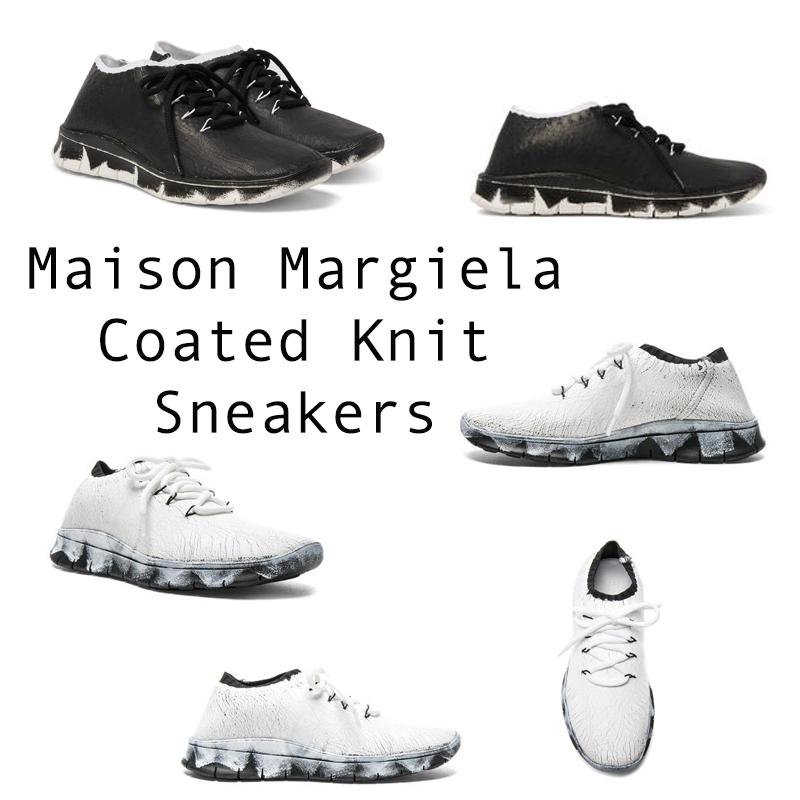Bạn có nhớ chiếc đế giày huyền thoại của dòng Nike Free Flyknit, Maison Margiela Coated Knit chính là phiên bản cao cấp của Nike Free Flyknit 4.0 từ Maison Margiela. Vân là những chiếc đế giày của dòng Nike Free Flyknit, nhưng Maison Margiela Coated Knit có những chiếc đế giày cá tính hơn bởi hoạ tiết tạo cảm giác bạn vừa nhúng đôi sneaker của mình vào những thùng sơn và còn dính lại những vệt sơn trên đế giày.