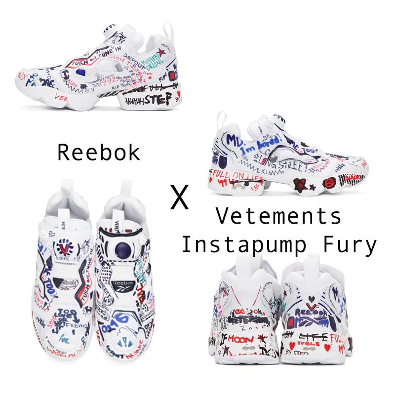 """Trong năm nay, bạn đã từng nghe câu: """"Drawing on your sneakers is a thing for 2017"""" (Hãy vẽ lên đôi giày thể thao của bạn). Và sự ra đời của Reebok x Vetements Instapump Fury hoàn toàn có thể đáp ứng được câu nói trên. Không một ai có thể rời mắt khỏi những dòng chữ grafitti nhiều màu sắc vui nhộn cùng với kiểu dáng hết sức mạnh mẽ của đôi sneaker này."""