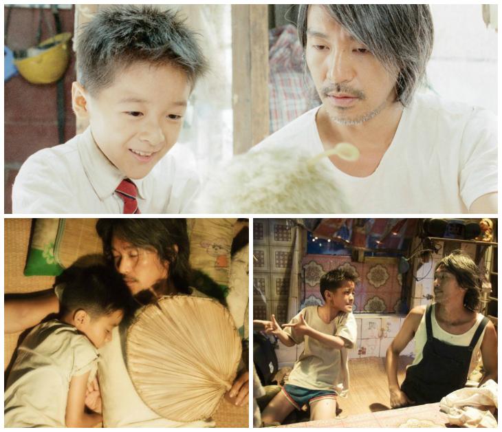 Châu Tinh Trì phối hợp ăn ý cùng bạn diễn nhí Từ Kiều (vai cô con gái Tiểu Địch) trong phim CJ7