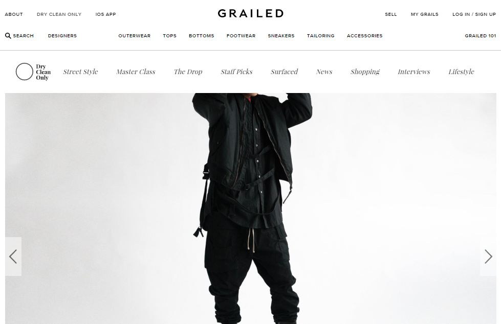 Trang website Grailed.