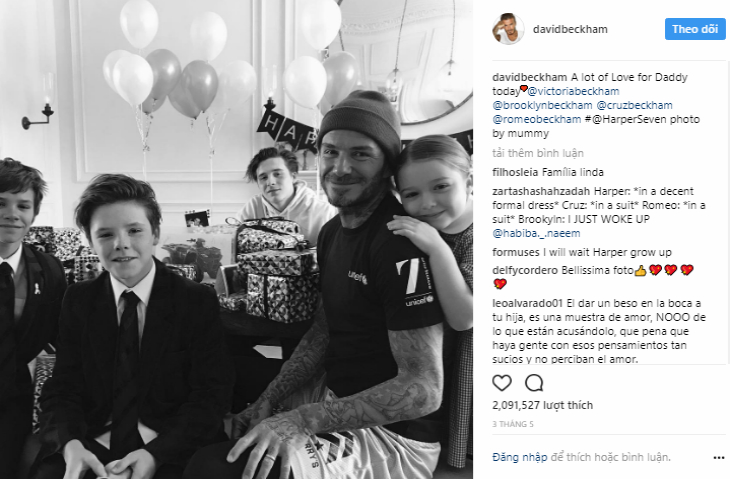 Beckham và ba cậu con trai lớn Brooklyn, Romeo, Cruz, cùng với cô con gái út Harper