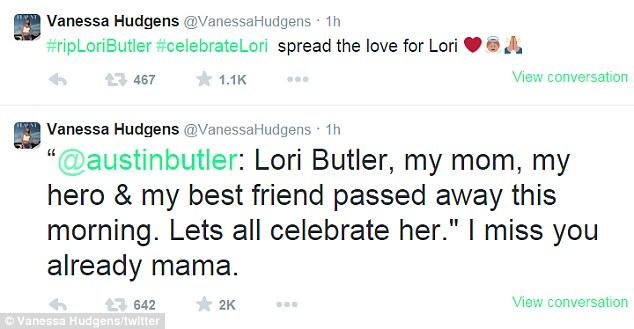 Sau khi hay tin mẹ Austin qua đời, Vanessa đã thể hiện sự động viên đối với bạn trai thông qua tài khoản Twitter của mình