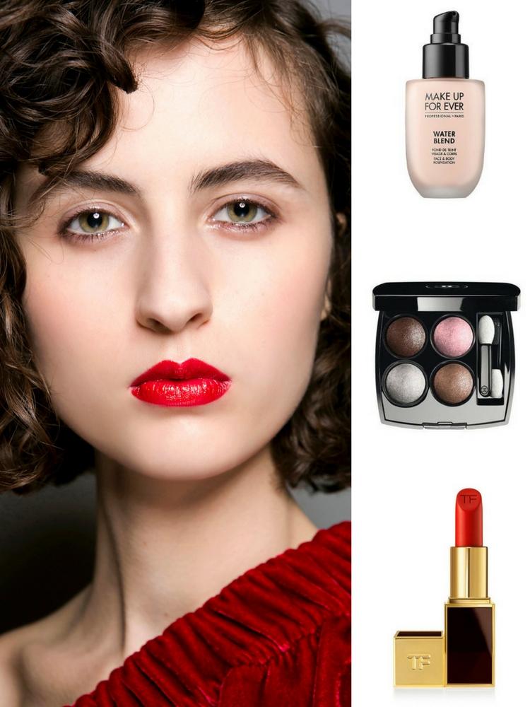 Sản phẩm gợi ý: Kem nền Make Up For Ever, phấn mắt Chanel, son lì Tom Ford
