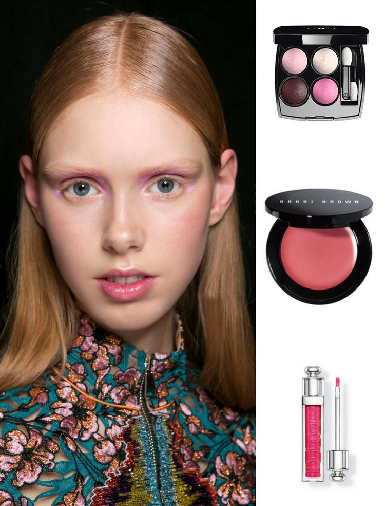 Sản phẩm gợi ý: phấn mắt Chanel, phấn má dạng kem Bobbi Brown, son bóng Dior