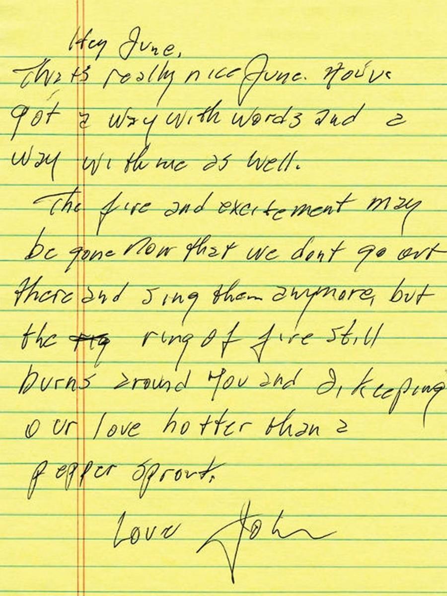 Thư của huyền thoại nhạc đồng quê Johnny Cash gửi cho vợ June Carter Cash