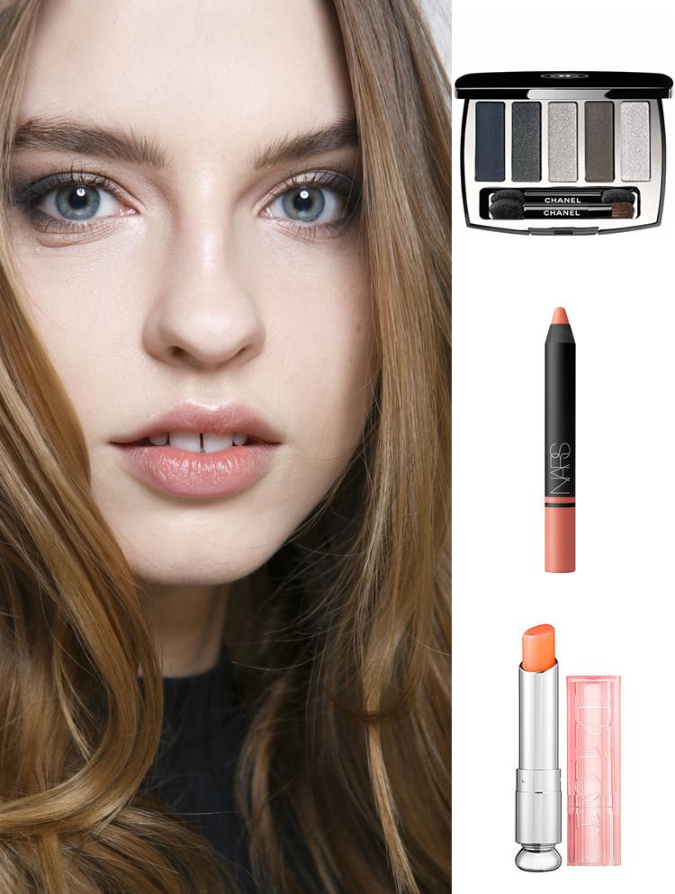Sản phẩm gợi ý: Phấn mắt khói Chanel, son bút chì Nars, son dưỡng Dior