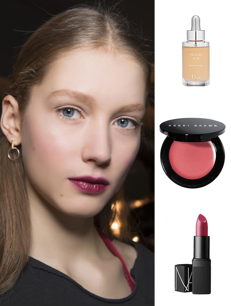 Sản phẩm gợi ý: Kem nền Dior, má hồng dạng kem Bobbi Brown, son môi Nars