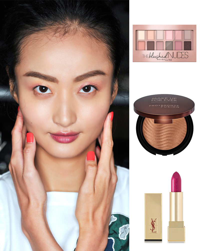 Sản phẩm gợi ý: Maybeline the Blushed Nude eye shadow, Pro Bronzer Make Up For Ever, YSL lipstick