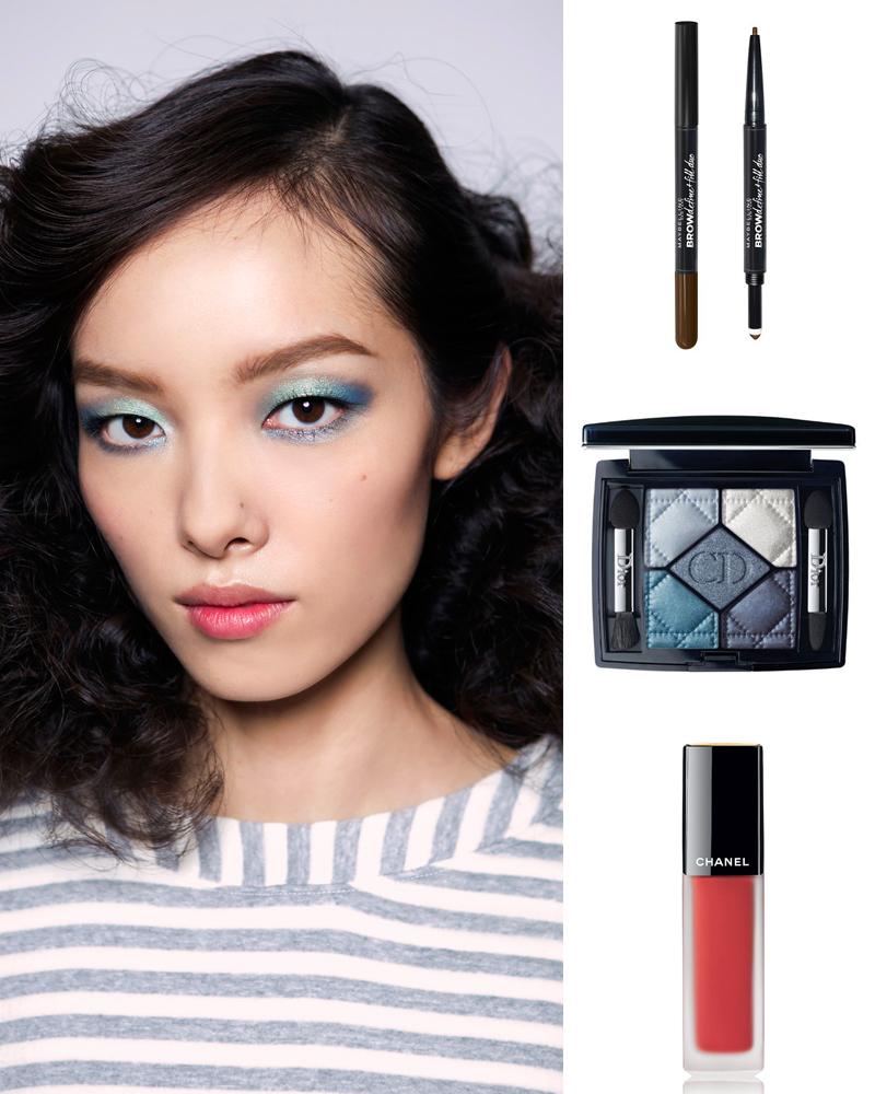 Sản phẩm gợi ý: Bút kẻ lông mày Maybeline, Dior eyeshadow, Chanel Rouge Allure Ink