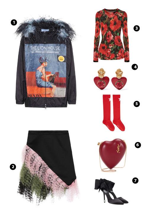 Prada/ Christopher Kane/ Balmain/ Dolce & Gabbana/ Givenchy/ Saint Laurent/ Roger Vivier¬