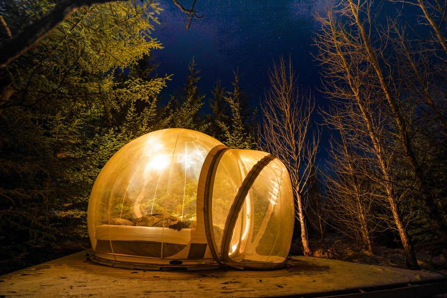 """Vì """"quả bóng"""" trong suốt nên bạn có thể nằm giữa rừng cây ngắm bầu trời đầy sao vào ban đêm."""