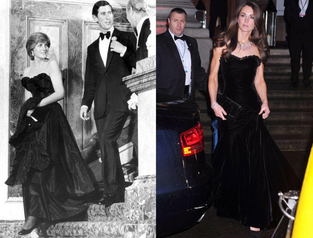ông nương Diana xuất hiện lộng lẫy với một chiếc đầm quây ngực màu đen có phần váy xòe cầu kỳ