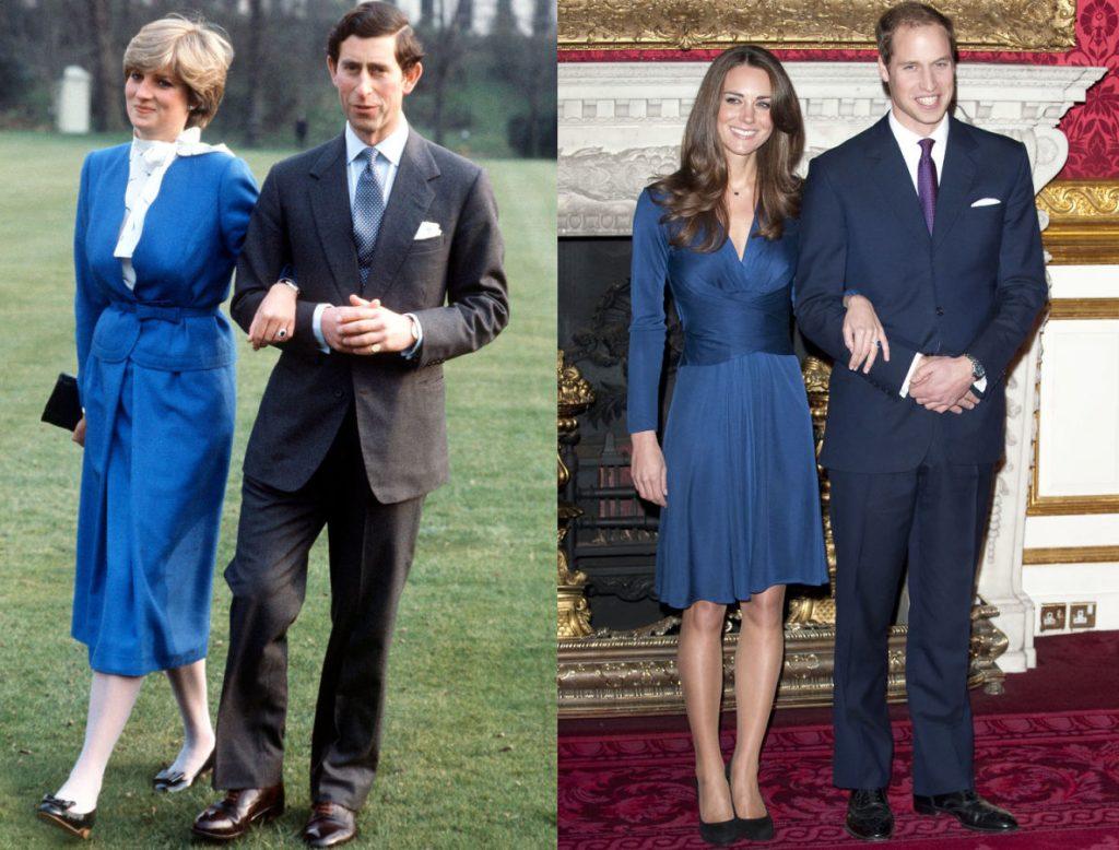 Công nương Diana và Thái tử Charles đính hôn vào tháng 2/1981. Kate và William đính hôn vào tháng 11/2010. Cả hai nàng dâu đều mặc một chiếc váy màu xanh cobalt trong ngày quan trọng của mình.