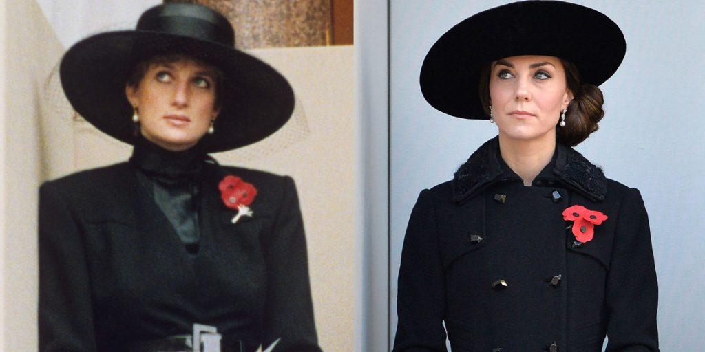 """Kate Middleston trở thành """"bản sao"""" của mẹ chồng cũng với áo măng-tô và mũ rộng vành màu đen"""