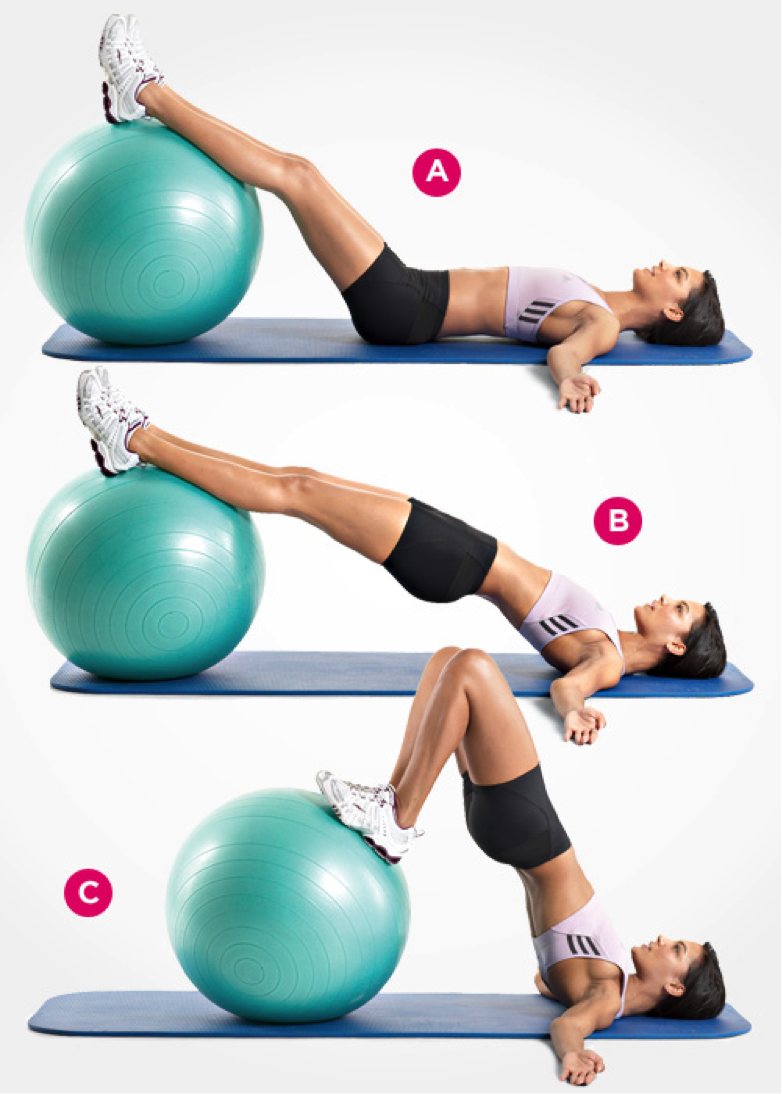 Swiss-Ball Hip Raise And Leg Curl