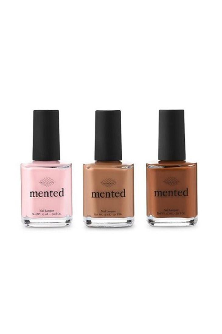 Bộ sưu tập sơn móng tay màu nude của Mented 'Mented Nude Nail Collection' màu Pinkish, Yes We Tan, và Brown & Bougie ($15/ lọ)