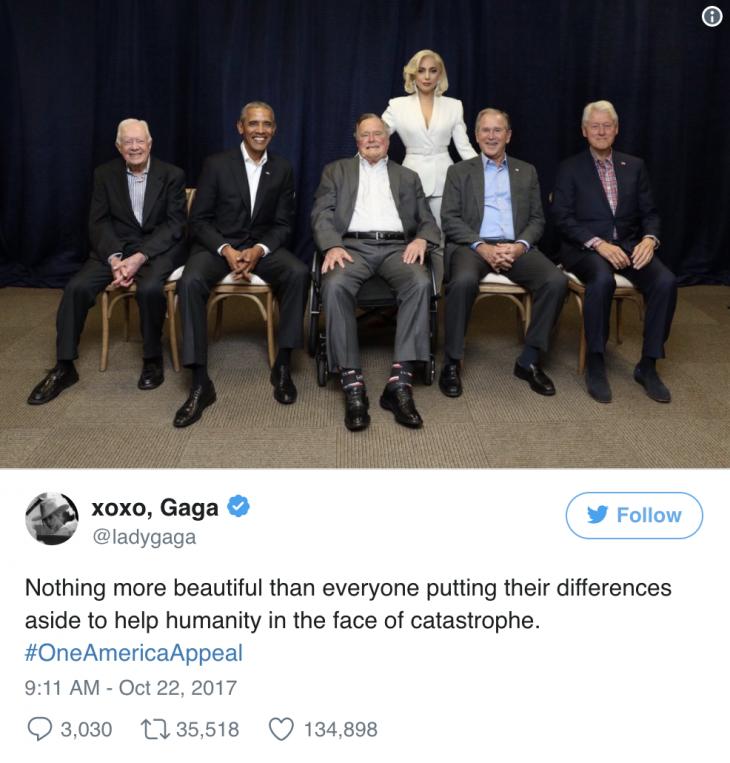 Lady Gaga xuất hiện cùng 5 cựu Tổng thống Hoa Kỳ trên sân khấu từ thiện - ELLE Việt Nam