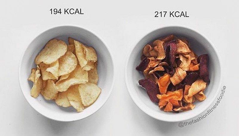 Bất ngờ về sự so sánh giữa thức ăn kiêng và thức ăn vặt