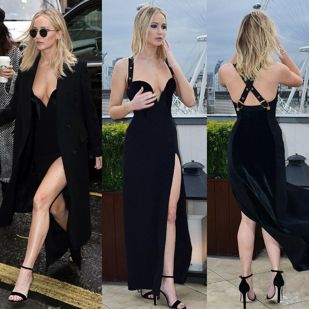 Nữ diễn viên Jennifer Lawrence bên chiếc đầm huyền thoại từng làm nên tên tuổi mỹ nhân Liz Hurley