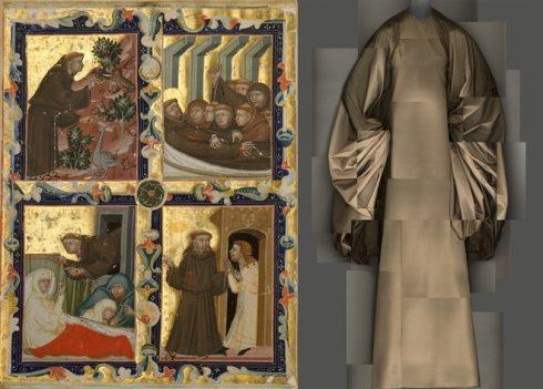 Bên trái: Bản vẽ phác tay những giai đoạn chính trong cuộc đời của Thánh Francis (Assisi) tại Ý, niên đại 1320-42. Bên phải: Đầm dạ tiệc đêm của Madame Grès, năm 1969