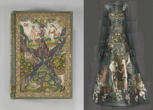 Bên trái: Kinh thánh và sách giáo lý của con dân mộ đạo tại Anh, năm 1607, được cấu thành từ giấy lụa và bìa nẹp kim loại. Bên phải: Đầm dự tiệc đêm của thương hiệu Valentino, thuộc BST Haute Couture 2014, do bộ đôi Maria Chiuri và Poerpaolo Piccioli sáng tạo.