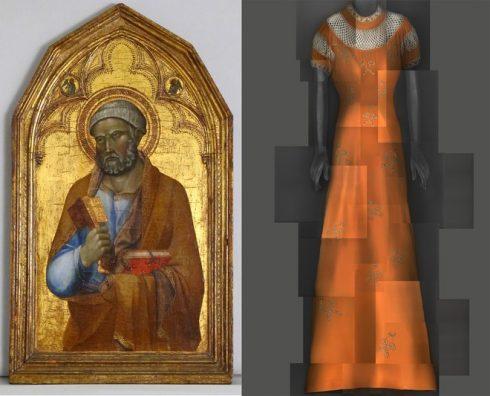 Bên trái: Tác phẩm của học trò danh họa Lippo Memmi, mô tả chân dung của Thánh Peter, giai đoạn giữa thế kỷ 14. Tác phẩm khắc màu trên gỗ nền vàng. Bên phải: Đầm dạ tiệc buổi đêm của Elsa Schiaparelli thuộc BST mùa Hè 1939.