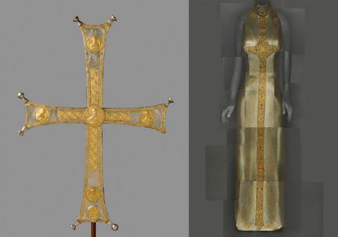 Bên trái: thập tự giá mạ bạc thuộc triều đại Byzantine (niên đại: 1000 – 1050) Bên phải: Đầm dạ tiệc buổi đêm của thương hiệu Versace do Gianni Versace thiết kế, thuộc BST mùa Thu 1997-98