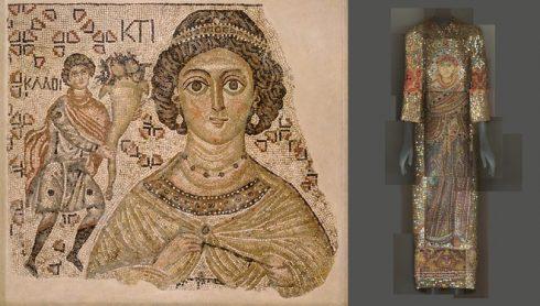"""Bên trái: Một mảnh vỡ của gạch lót sàn """"Personification of Ktisis"""" thuộc triều đại Byzantine (niên đại: 500-550) được phục dựng với gương và đá hoa cương. Bên phải: Mẫu thiết kế của Dolce & Gabbana thuộc BST mùa Thu 2013-14 được lấy cảm hứng từ bên trái."""