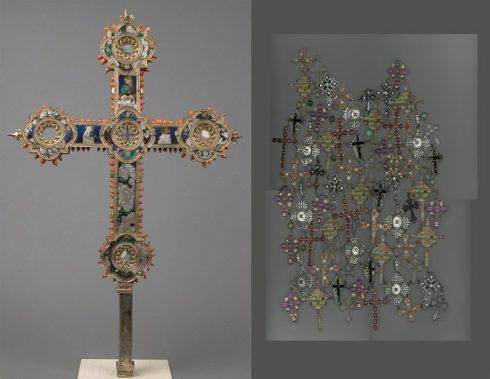Bên trái: Thập tự giá mạ bạc thuộc thế kỷ 14 tại Ý. Bên phải: Phụ kiện của thương hiệu Chanel trong BST mùa Thu 2008-09, do Karl Lagerfeld sáng tạo.