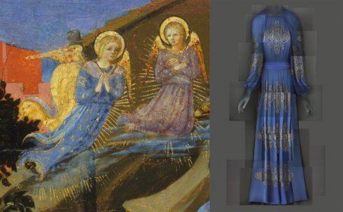Bên trái: Tác phẩm 'The Nativity' của họa sĩ Zanobi Strozzi, niên đại 1433 – 34. Bên trái: Đầm dạ tiệc đêm của Lanvin do Jeanne Lanvin thiết kế, năm 1939.