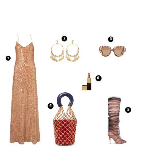 Look 1: Galvan – Chlóe – Gucci – Staud – Off-white – Tom Ford Sable Smoke