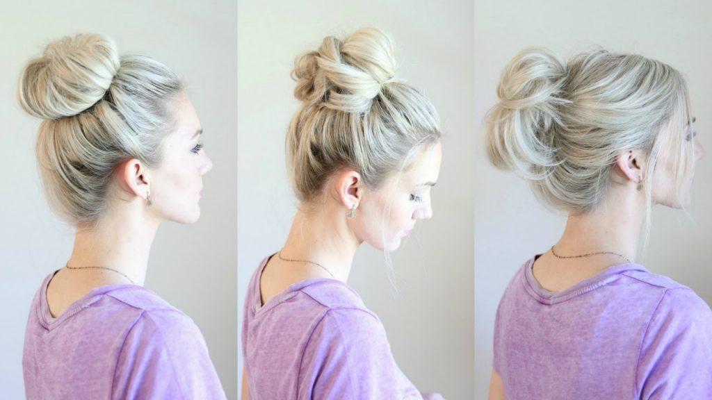 cách búi tóc messy bun 1