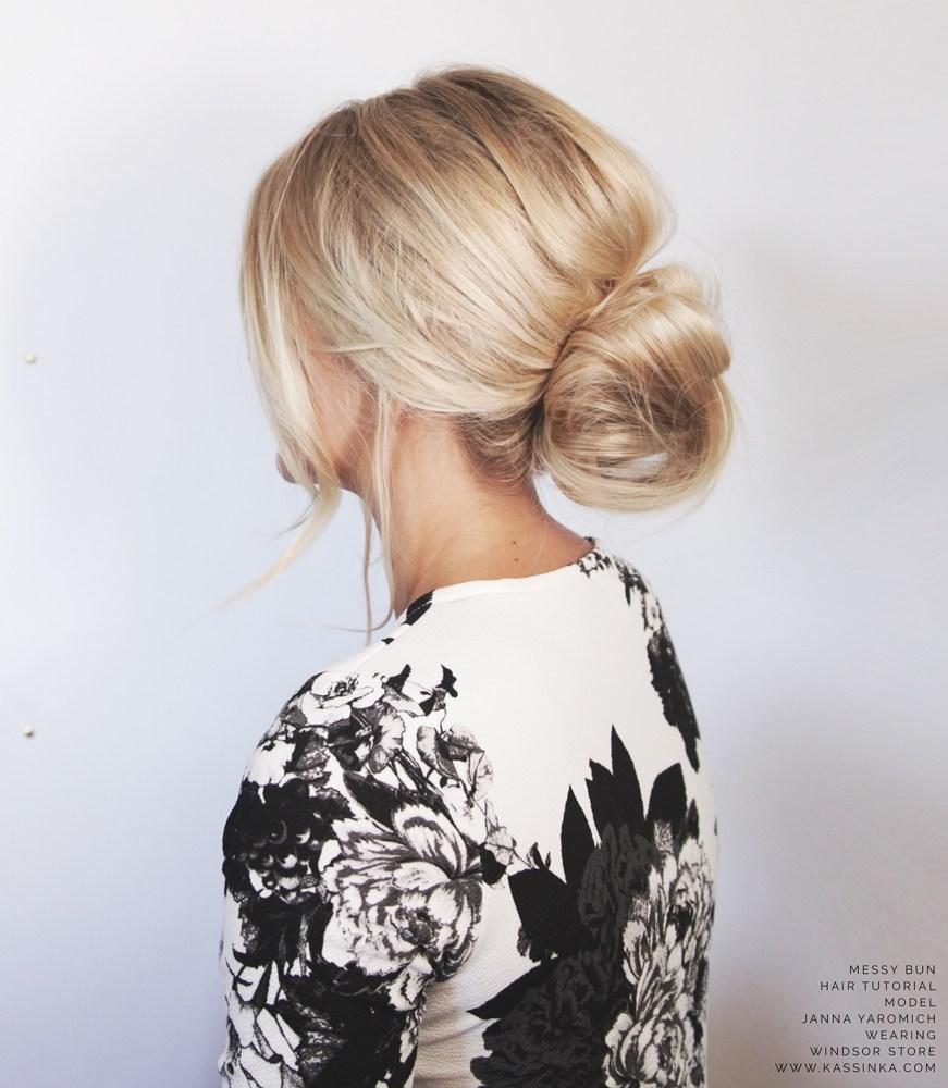 cách búi tóc messy bun 6