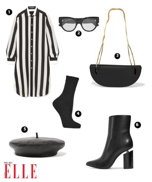 Shirt Dress sọc trắng đen DOLCE & GABBANA – Mắt kính GUCCI – Túi xách ROKSANDA – Vớ FALKE = Nón beret da EUGENIA KIM - Giày ALEXANDER WANG