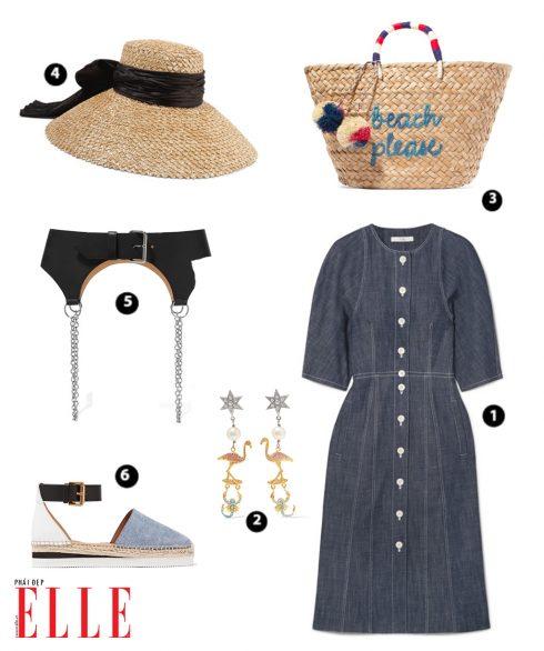 Shirt Dress denim TIBI – Bông tai MIUMIU – Túi xách cói KAYU – Nón cói to bản EUGENIA KIM – Đai lưng của SANDY LIANG – giày denim đế cói SEE BY CHLOÉ
