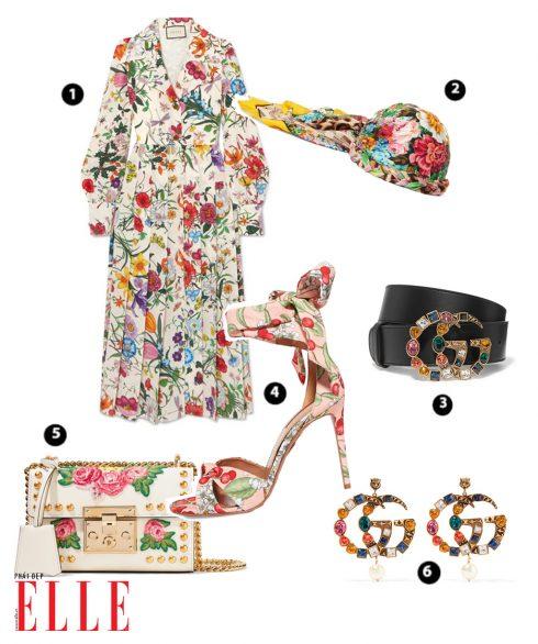 Shirt Dress hoa GUCCI – Khăn quấn turban hoa GUCCI – Thắt lưng da GUCCI – Giày hoa AQUAZZURA – Túi xách GUCCI – Bông tai GUCCI